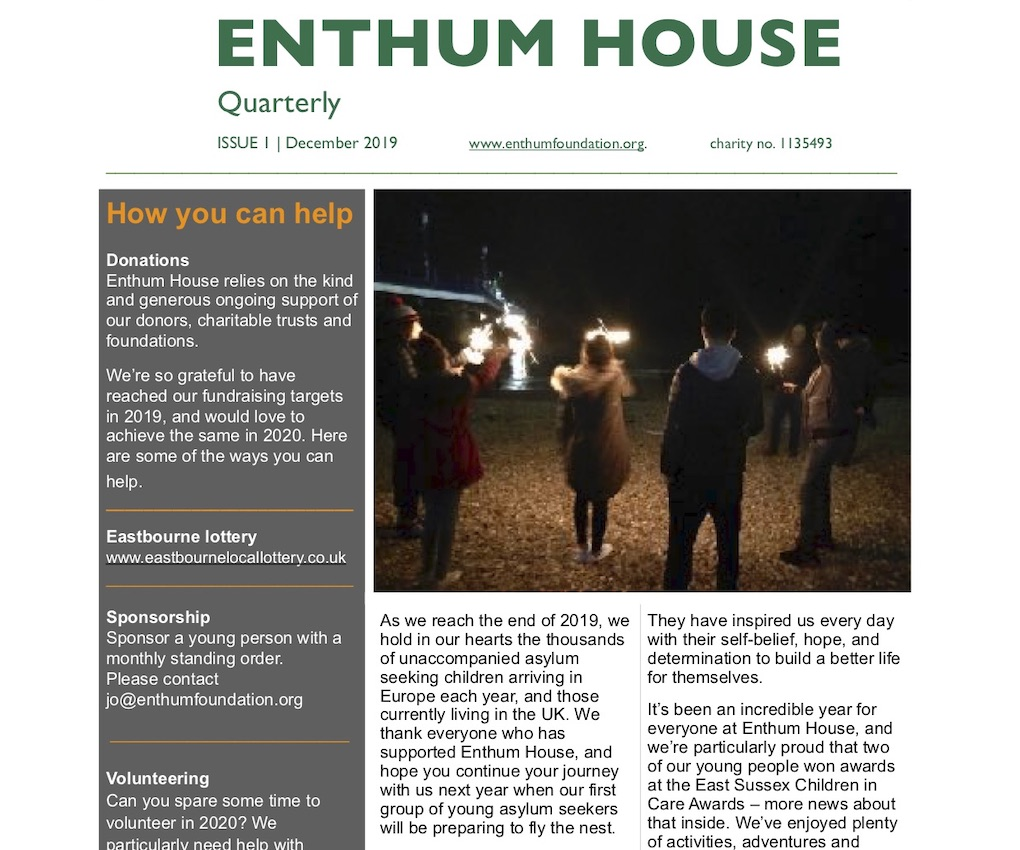 Enthum House newsletter