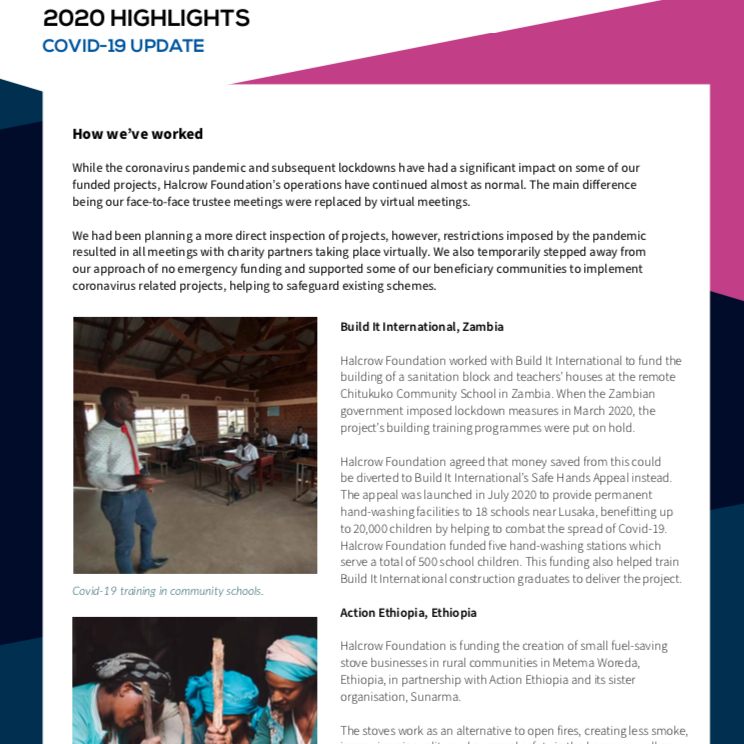 Halcrow Foundation Annual Report 2020 highlights