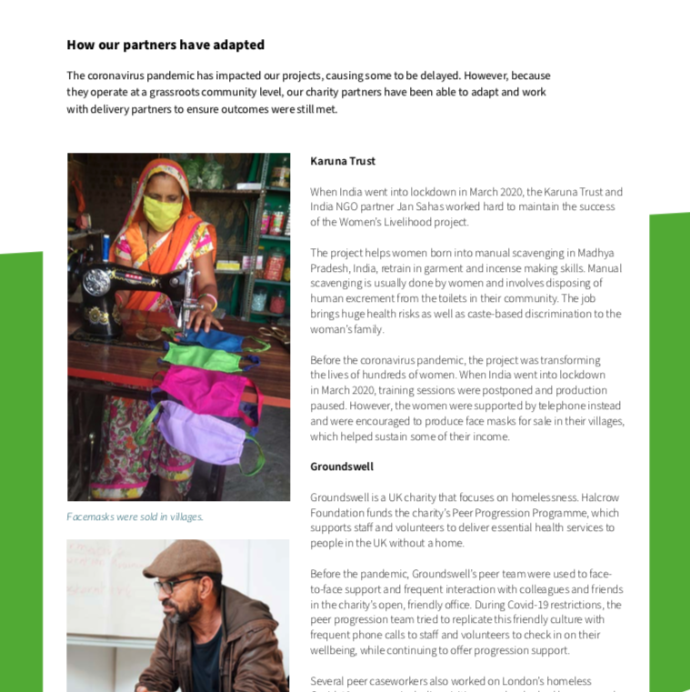 Halcrow Foundation Annual Report 2020 partners